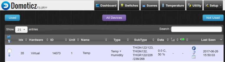Temperature Sensors on a Raspberry Pi hosting Domoticz