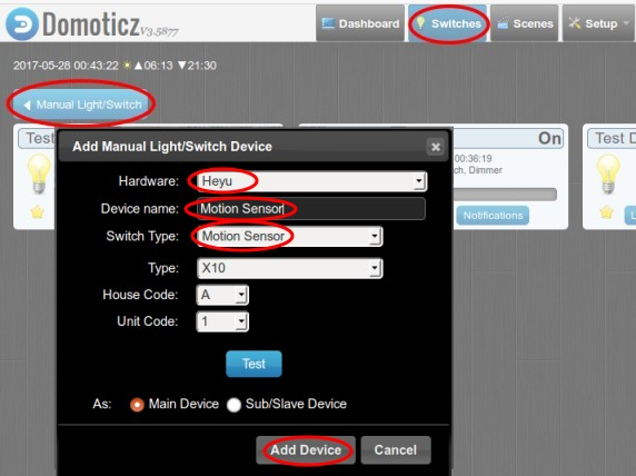 Motion and Dusk Sensor with CM11A in Domoticz
