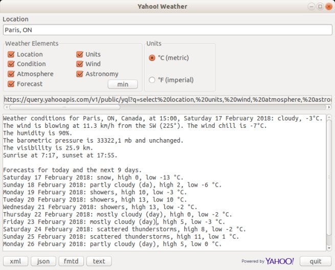 The Yahoo! Weather API with Free Pascal